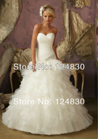 Free Shipping Custom-made Fashion Ruffles Sweetheart Strapless Lace Up Organza A-Line Wedding Dresses
