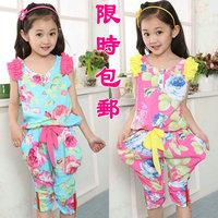 Girl's summer clothing girl child set T-shirt sleeveless vest harem pants