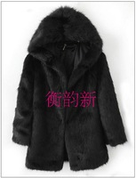 Thermal thickening faux fur wool with a hood faux overcoat high quality wadded jacket outerwear female  FREE SHIPPING!