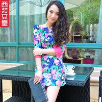 2013 spring and summer vintage print one-piece dress color block three quarter sleeve slim one-piece dress short skirt