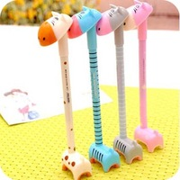 Free Shipping Newest Lovely Plastic Giraffe Ballpoint Pen Cartoon Students Ball Pen School Office Pens Prize For Children Kids
