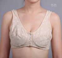 Vest Design Front Closure Button Bra Women's Sleeping Underwear Bra Wireless Plus Size Quinquagenarian 100% Cotton Big Bras