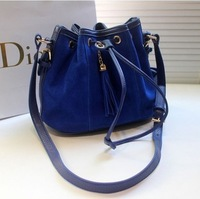 2013 spring candy color scrub bucket drawstring bag opening shoulder bag cross-body women's handbag bag