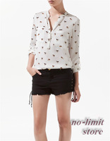 2013 autumn new European and American dog print chiffon blouse casual full-sleeve shirt for women camisas free shipping