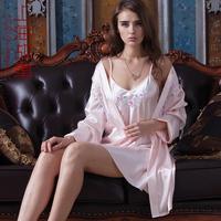 Spring and autumn spaghetti strap sexy nightgown robe twinset sleepwear sexy lounge