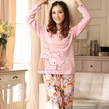 Autumn bear pink 100% cotton knitted long-sleeve sleep set lounge 100% cotton girls