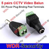 5 pairs CCTV Video Balun CCTV 5.5mm x 2.1mm DC Power Plug Binding Post Terminals