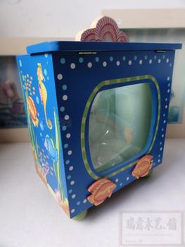 cheap plastic fish bowls Wood mini plastic aquarium fish tanks Foreign trade toys fish tank desk 26*17*30cm