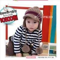 2014 newborn props bonnets gorro double ball hooded knitted child hat baby autumn acrylic cotton fall winter ear children