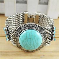 Vintage Fashion Jewelry Tibetan Silver Alloy Delicate Round Turquoise Bracelet free shipping  B007 free shipping