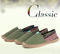 New Fashion  Casual  Canvas  straw-weaved Linen Shoes Unisex Lovers Classic Espadrilles Flats Shoes Plain Sneakers Free Shipping
