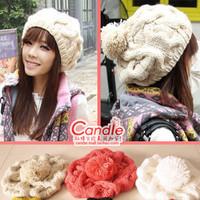 2014 solid skullies beanies women's handmade knitted hat macrospheric ear pumpkin cotton autumn and winter earflaps