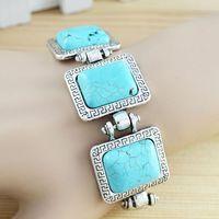 Vintage Fashion Jewelry Tibetan Silver Alloy Delicate Three square Turquoise Bracelet free shipping  B011 free shipping