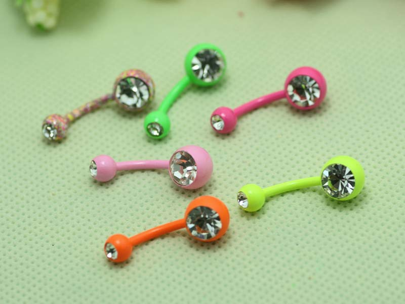 wholesale mixed colors double gem belly rings neon color and anodized colors(China (Mainland))