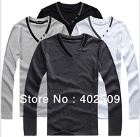 New 2013  V collar male British style long sleeve men's summer europe T-shirt black/grey/ White winter thermal primer clothing
