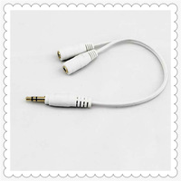Free Shipping 4pcs/lot 3.5mm Male to 2 Dual Female Plug Jack Audio Stereo Headset Splitter Cable White and black