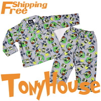 2013 Brand Design Clothes Children Boy's Cartoon Ben 10 Winter Flannel Pajamas High Quality Pyjamas Free Shipping
