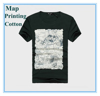 New Style Men Knitted Cotton Men Tops T Shirt  Simple Nature & Cool Map Printing Fashion Trend Short Sleeve Men Clothes Gray Red
