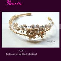 2 pcs / lot Free Shipping Floral Pearl And Rhinestone Bridal Princess Tiara Crown