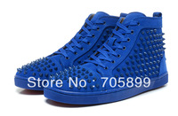 Free shipping  red bottom new arrival men spike Shoes  Flat Spikes Sneakers Lace Up Blue Spikes Studs Fashion Casual Shoes