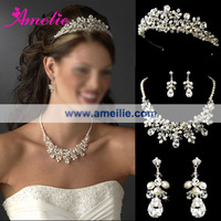 Free Shipping Dramatic Silver Clear Crystal & Ivory Freshwater Pearl Bridal Necklace & Earring Set with Matching Tiara
