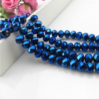 Wholesale 8/10mm Blue Plating Artificial crystal oval beads