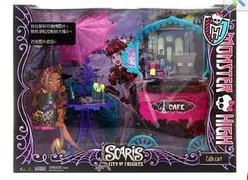 Free Shipping Original Monster High Accessories Y0425 Scaris City of Frights Accessory Kit Cafe Cart/Convertible Car Girls Toys