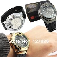 2013 Military Lighter Watch Man Quartz Wristwatch Cigarette Cigar Men Watches Lighter Item 3 Colors 6pcs/lot Free shipping