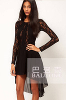 Fashion hot-selling 6108 patchwork perspectivity irregular long-sleeve slim thin waist Women's dress QLL-011