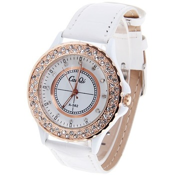 Free Shipping CaiQi Men's Watches with Diamonds Dots Hour Marks Quartz Round Dial Leather Watchband