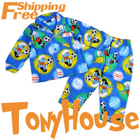 In Stock Wholesale Children Boy's Cartoon Blue Numen 100 Cotton Winter Pajamas/Pyjamas Free Shipping