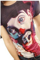 Free shipping 2013 new Sell like hot cakes Fashion personality clown fun cartoon short sleeve T-shirt  high quality!