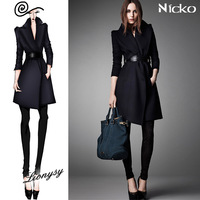 Fashion slim plus size clothing outerwear medium-long slim waist wool coat wool 014