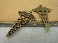 10pcs 30x48mm Antique Bronze Lovely Hermes Caduceus Snake Key Charms Pendant c3958