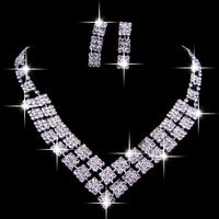 Bavin the bride accessories chain sets rhinestone necklace set marriage accessories wedding dress jewelry 2 piece set
