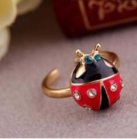 2014 New Christmas gifts Crystal Ladybug ring Finger Ring Wholesale fashion Animal Jewelry, Free Shipping