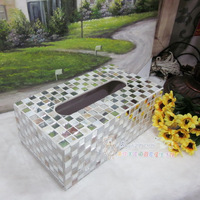 Fashion brief home decoration mosaic quality lens tissue box shell tissue box sh224