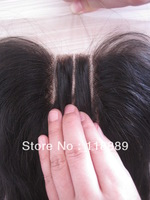Hotsale 3 way part closure Indian Remy Hair Closure,Natural straight closure  4X4inch density 130%, natural color