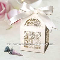 """120pcs  2""""*2""""*3"""" Laser Cut  Birdcage Wedding Favor Box in pearlescent paper Ivory come with Ivory Ribbon"""