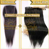 1 Top Closure Hair With 4Pcs Hair Bundles 5Pcs Lot Unprocessed Hair Extensions Virgin Brazilian Straight Hair DHL Free Shipping