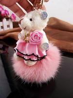Plush bear keychain car key chain women's bag rabbit fur gift