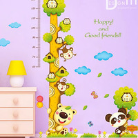 Free shipping 2014 new cartoon panda height wall sticker can be remove children room wall decal mural