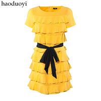 women dress   spring and summer cycle polyester fiber solid color multi-layer one-piece dress