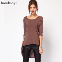 Rock style dovetail hem Long Sleeve Crew Neck T-Shirt Brown