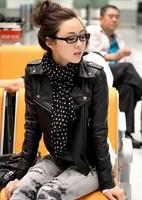 2014 New Arrival Women Leather Jacket Coat Women Short Motorcycle Jacket Turn Down Neck Long Sleeve Zipper Rivet Slim Coat C09A2