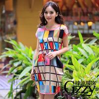 Novelty Vintage multicolour plaid pocket drawstring elastic waist slim waist short-sleeve chiffon dress  Casual Print stripes