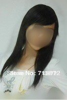 Free shipping Wig female hair long straight hair oblique hair  in 100% real hair wigs