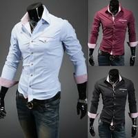 2013 Free Shipping New Mens Fashion shirt Casual style Splice Slim Shirts,shirts for men black/white/wine red/blue/coffee 9026