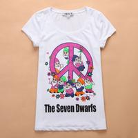 Print The Seven Dwarfs 2013 Summer Rhinestones Cotton Casual Basic White Shirt Women Short-sleeve Slim Diamond Cute T-shirt