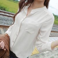 Women long-sleeved white chiffon blouse collar long shirt two pockets casual plus loose size chiffon blouse tops shirt